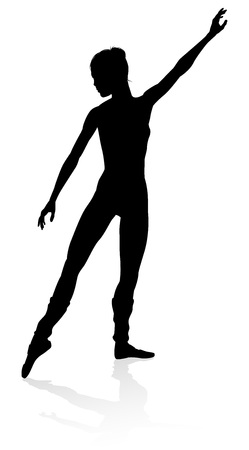 Silhouette of a ballet dancer dancing in a pose or position Vector Illustration