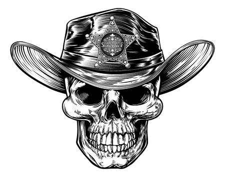 Vintage Style Skull Sheriff Ilustración de vector