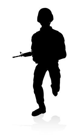 Soldier Detailed Silhouette Illustration