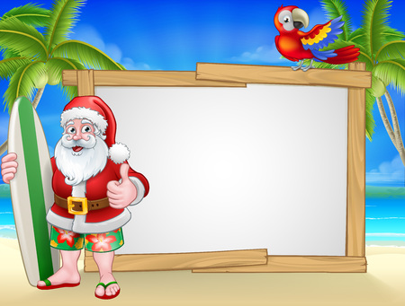 Santa Claus Christmas cartoon character in shorts and flip flops holding his surfboard on a tropical beach with palm trees and parrot sign background. 矢量图像