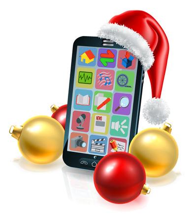 Eine konzeptionelle Illustration des Weihnachts-Handys mit Weihnachtsmütze und Kugeln