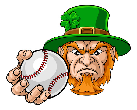 Leprechaun Holding Baseball Ball Sports Mascot