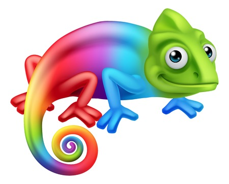 Chameleon Lizard Cartoon Character vector illustration Иллюстрация