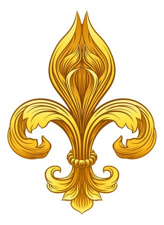 Gold Fleur De Lis Graphic Design vector illustration