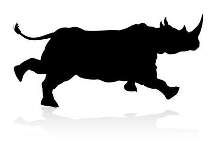 Eine Nashorn- oder Nashorn-Safari-Tiersilhouette Vektorgrafik