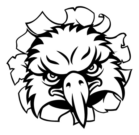 Eagle Cartoon Sports Mascot Tearing Background vector illustration