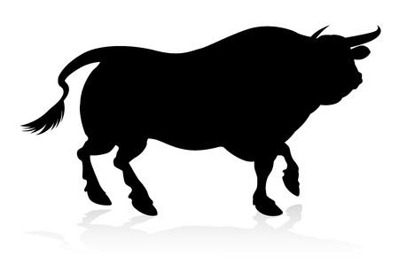 Toro silueta aislado en blanco Ilustración de vector