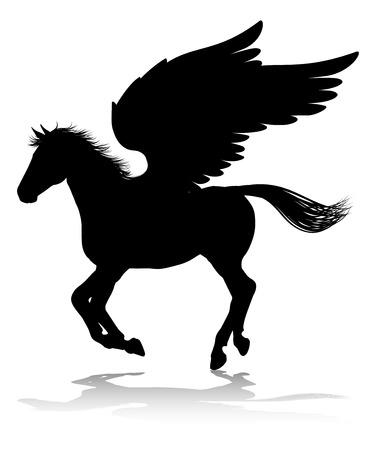 Sylwetka Pegaza Mitologiczny skrzydlaty koń Ilustracje wektorowe