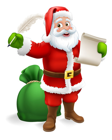 Santa Claus checking Christmas naughty or nice gift list or writing letter to child cartoon scene Illustration