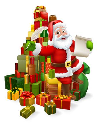 Père Noël vérifiant la liste de cadeaux coquine ou gentille de Noël ou écrivant une lettre à une scène de dessin animé pour enfants