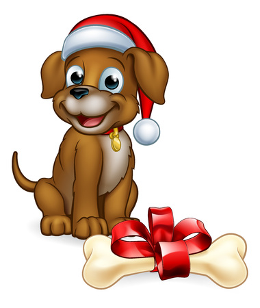 A pet dog in a Christmas Santa Claus hat cute cartoon character with its bone gift Archivio Fotografico - 112347241