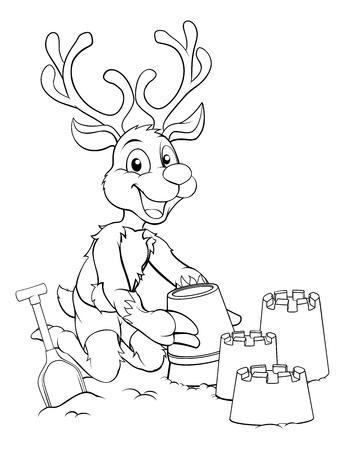 Santa Claus s reindeer Christmas character on the beach making sandcastles Illustration