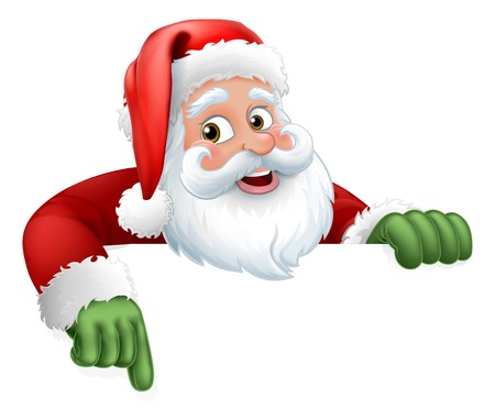 Santa Claus Christmas cartoon character above a sign pointing at it Stok Fotoğraf - 112401828
