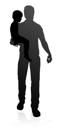 High quality and detailed silhouettes of father and child