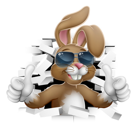Easter bunny rabbit cartoon character in cool sunglasses or shades breaking through the background wall and giving a thumbs up Stock Illustratie