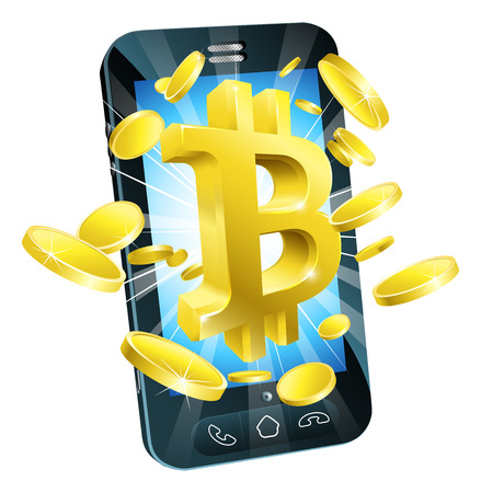 Bitcoin sign symbol and gold coins mobile phone concept