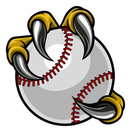 Eagle, bird or monster claw or talons holding a baseball ball. Sports graphic. Stock Illustratie