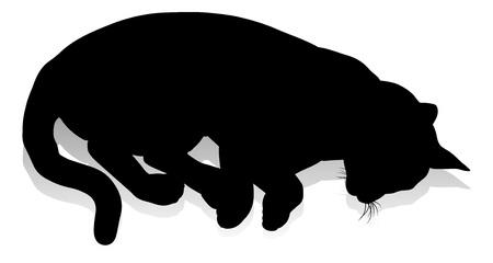 Un graphique détaillé animal de compagnie de chat silhouette