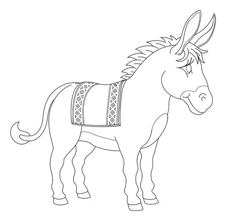 A donkey animal cute cartoon character black and white coloring illustration 矢量图像