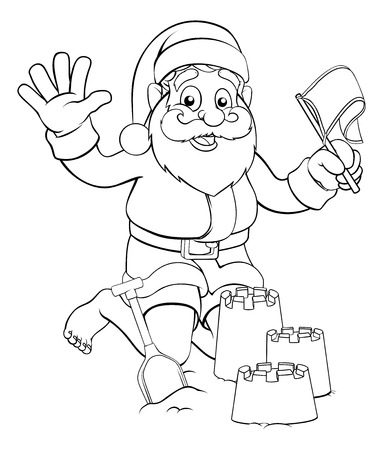 Santa Claus Christmas character on the beach making sandcastles Illustration