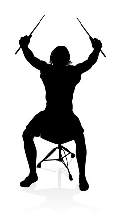 A drummer musician drumming drums in detailed silhouette