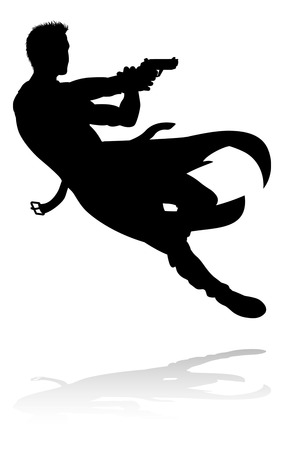 Silhouette person in an action movie film shoot out pose