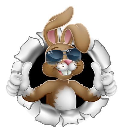 Postać z kreskówki królika wielkanocnego w fajnych okularach przeciwsłonecznych lub odcieniach przebijających się przez tło i pokazujących kciuk w górę Ilustracje wektorowe
