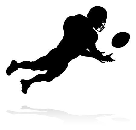Silueta deportiva detallada de jugador de fútbol americano