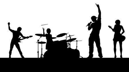 A musical group or rock band playing a concert in silhouette Standard-Bild - 121753324