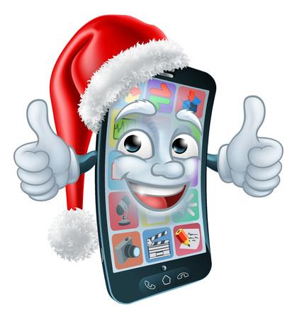 Eine Handy- oder Handy-Weihnachtsmaskottchen-Cartoon-Figur mit einem Weihnachtsmann-Hut beim Aufgeben eines doppelten Daumens nach oben