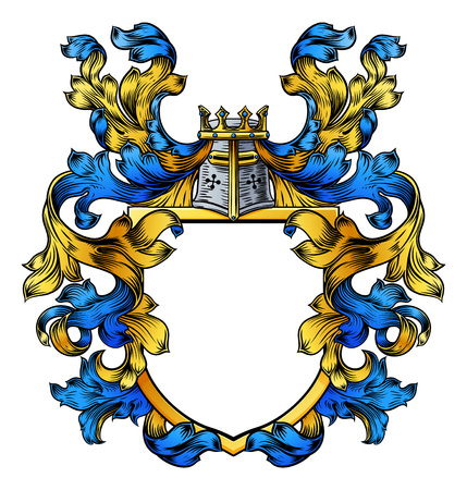 A coat of arms crest heraldic medieval knight or royal family shield. Blue and yellow vintage motif with filigree leaf heraldry.