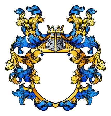 Un escudo de armas cresta de caballero medieval heráldico o escudo de la familia real. Adorno vintage azul y amarillo con heráldica de hojas de filigrana. Ilustración de vector