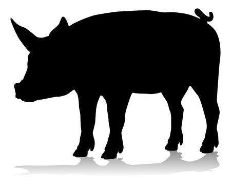 A pig silhouette farm animal graphic