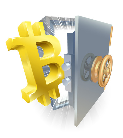 A bitcoin symbol coming our of a safe crypto currency concept