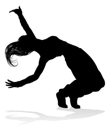 Een vrouw Streetdance hip hop danseres in silhouet