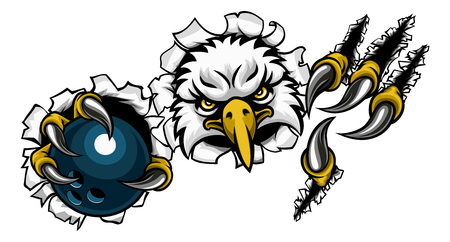 An eagle bird bowling sports mascot cartoon character ripping through the background holding a ball Stock Photo