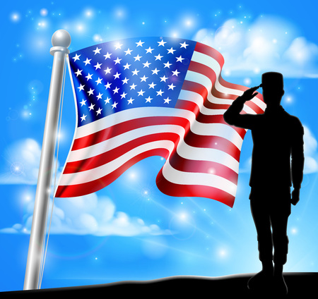 A patriotic soldier saluting standing in front of an American flag background Иллюстрация
