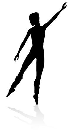 Silhouette ballet dancer woman dancing in pose or position Foto de archivo - 113436418