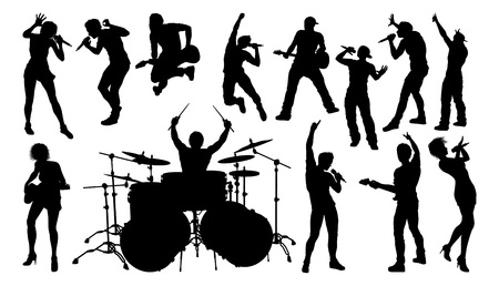 A set of musicians, rock or pop band singers, drummers, and guitarists high quality silhouettes 向量圖像