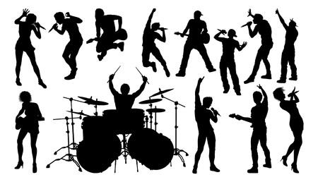 Un conjunto de músicos, cantantes de bandas de rock o pop, bateristas y guitarristas siluetas de alta calidad Ilustración de vector