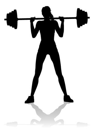 Una donna in silhouette che utilizza attrezzature da palestra per esercizi di fitness con pesi con bilanciere Vettoriali