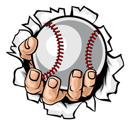A strong hand holding a baseball ball tearing through the background. Sports graphic Illustration