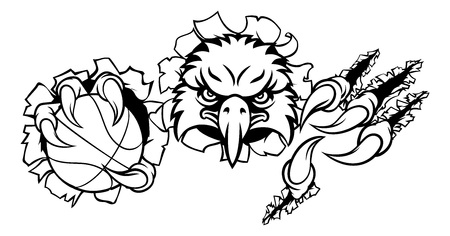 An eagle bird basketball sports mascot cartoon character ripping through the background holding a ball Standard-Bild - 113608030