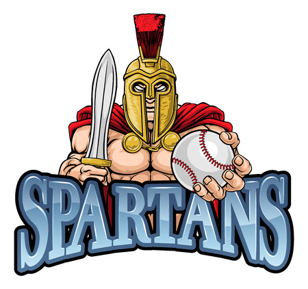 A Spartan or Trojan warrior Baseball sports mascot holding a ball