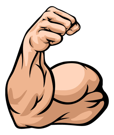 A strong arm showing its biceps muscle illustration Stock Illustratie