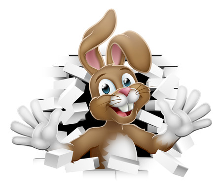 Easter bunny rabbit cartoon character breaking through the background wall Stock Illustratie