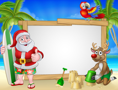 Santa Claus in shorts and flip flops with his reindeer holding a surfboard on a tropical beach with palm trees and parrot Christmas cartoon sign background.