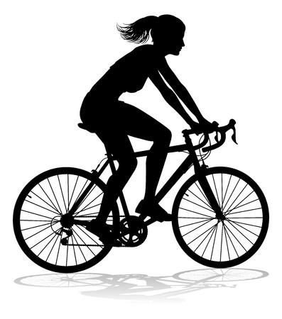 Una mujer en bicicleta ciclista en silueta