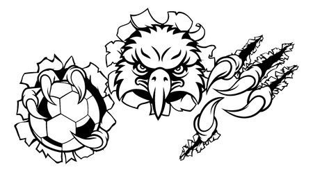 Eagle Soccer Cartoon Mascot Tearing Background
