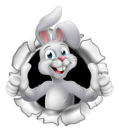 Easter bunny rabbit cartoon character breaking through the background and giving a thumbs up Stock Illustratie
